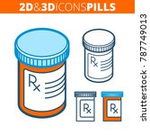 the pill bottle. flat and... | Shutterstock .eps vector #787749013