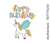 birthday vector card with cute... | Shutterstock .eps vector #787775143