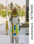 Small photo of CAIRO, EGYPT-JAN. 17, 2009: An honor guard, dressed as an ancient Egyptian soldier, stands guard at the Sadat and Unknown Soldier Memorial.