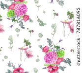 floral pattern with hydrangeas  ... | Shutterstock . vector #787816093
