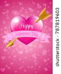 valentine heart with banner and ... | Shutterstock . vector #787819603