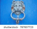 knocker lion's head   | Shutterstock . vector #787837723