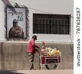 Small photo of POTOSI, BOLIVIA - AUGUST 08, 2017: Unidentified bolivian man selling juices in the street of Potosi, Bolivia