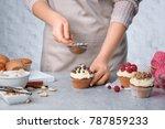 female baker decorating tasty...   Shutterstock . vector #787859233