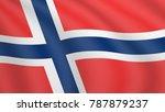 waving flag of norway. current... | Shutterstock .eps vector #787879237