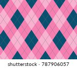 pink and ink blue argyle... | Shutterstock .eps vector #787906057