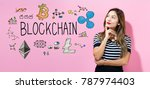 blockchain with young woman in... | Shutterstock . vector #787974403