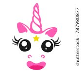 nice pink unicorn with a star... | Shutterstock .eps vector #787980877