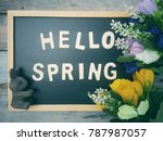 close up blackboard with hello...   Shutterstock . vector #787987057