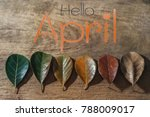 Small photo of Flat lay, Hello april on orange text over gradient leaves different stage autumn senescence foliage background