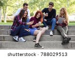 group of young people using...   Shutterstock . vector #788029513