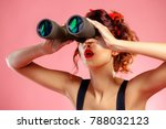pretty red haired girl looks... | Shutterstock . vector #788032123