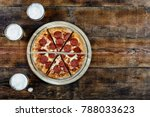pepperoni pizza and beer pills... | Shutterstock . vector #788033623