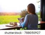 girl and coffee in the morning... | Shutterstock . vector #788050927