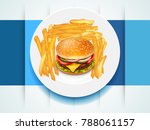 hamburger   french fries on a... | Shutterstock .eps vector #788061157