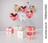 gift boxes with pink and golden ... | Shutterstock . vector #788064583