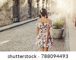 happy woman in beautiful dress...   Shutterstock . vector #788094493