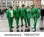 five men wear ireland costumes...   Shutterstock . vector #788102737