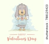 cute cartoon dachshund giving a ... | Shutterstock .eps vector #788125423