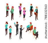 isometric 3d business people... | Shutterstock . vector #788132563