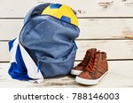 backpack  sneakers  ball and... | Shutterstock . vector #788146003