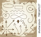 doodle arrows and symbols on... | Shutterstock . vector #788169127
