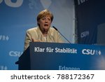 Small photo of Erlangen, Germany. August 30, 2017. Angela Merkel speaks at an election rally in Bavaria during a campaign which lead to an indecisive result and difficult political negotiations.