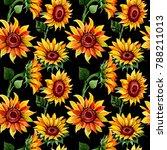 wildflower sunflower flower... | Shutterstock . vector #788211013