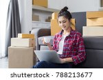 young asian woman working at... | Shutterstock . vector #788213677