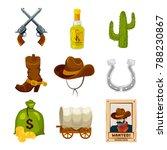 cartoon icon set for wild west...   Shutterstock . vector #788230867