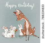 cute summer deer with hares | Shutterstock .eps vector #788234833