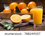 glass of fresh orange juice... | Shutterstock . vector #788249257