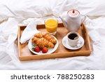 breakfast tray in bed   coffee  ... | Shutterstock . vector #788250283