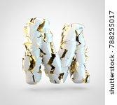 cracked letter m uppercase. 3d...   Shutterstock . vector #788255017
