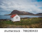 typical nordic cabin by the sea. | Shutterstock . vector #788280433