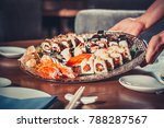 delicious sushi set fresh made... | Shutterstock . vector #788287567