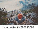 woman traveler sitting on cliff ... | Shutterstock . vector #788295607