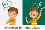 Boy thinking. Emotions and gestures. Think not, do not understand, Think out. The concept of learning and growing children. Cartoon illustrations vector | Shutterstock vector #788325607