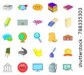 student icons set. cartoon set... | Shutterstock . vector #788335303