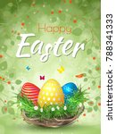 happy easter background with... | Shutterstock .eps vector #788341333