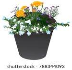 black flower planter containing