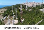 Small photo of Aerial bird view photo of radio masts and towers Erice Italy