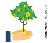 hand holding money tree with... | Shutterstock .eps vector #788421877