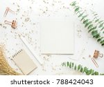 top view of white paper on... | Shutterstock . vector #788424043