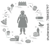 fat girl with unhealthy... | Shutterstock .eps vector #788435797