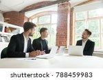 three businessmen in suits... | Shutterstock . vector #788459983