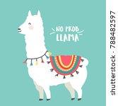 cute cartoon llama vector... | Shutterstock .eps vector #788482597