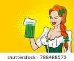 halftone wink girl. happy st... | Shutterstock .eps vector #788488573