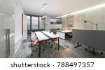 modern design office in red and ... | Shutterstock . vector #788497357