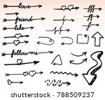 doodle arrows. isolated  hand... | Shutterstock .eps vector #788509237